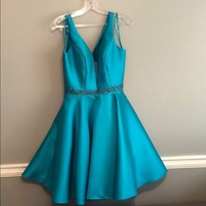 Short Turquoise Dress great for homecoming.